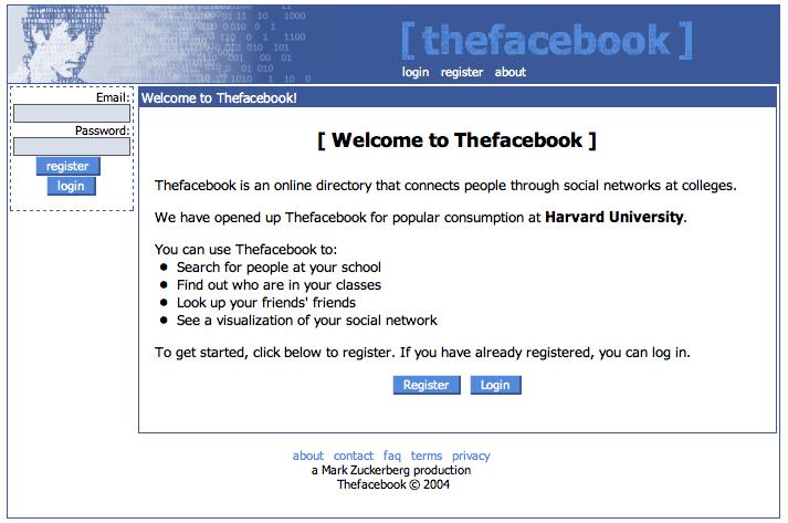 Así surgió Facebook, en 2004.